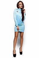 Женское платье-гольф, эко замш, голубое, размеры 42-48