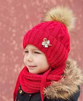 Зимняя шапка для девочки Принцесса, балабон из искусственного енота, красный (ОГ 48-52, 52-56)