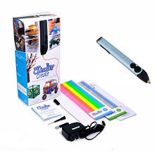 3D-ручка для професійного використання БЛАКИТНИЙ МЕТАЛІК (50 стрижнів з ABS-пластика, аксесуари)