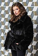 Женский полушубок из эко меха Tissavel (Франция) 094 черный 42-54рр