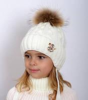 Натуральный мех, зимняя шапка для девочки Принцесса, молоко (ОГ 48-52, 52-56)