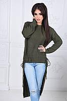 Женский свитер сзади туника с затяжками