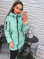 Удлиненная женская куртка на синтепоне с декоративными бегунками, цвет мята
