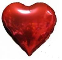 """Сердце фольгированное 18""""(45 см) красное металлик"""