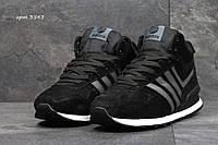 Мужские зимние кроссовки Adidas Neo черные  (Реплика ААА+), фото 1
