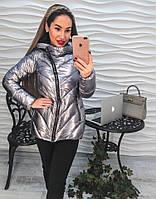 Удлиненная куртка на синтепоне из блестящей плащевки, цвет темно серый