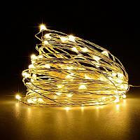 Гирлянда нить на батарейках  6 м, 60 -LED, тёплый белый, постоянное свечение