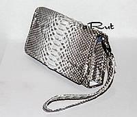 Женский кошелек из натуральной кожи питона на клапане, фото 1