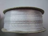 Лента атлас 0,3 см белая. Заказ от 10 м