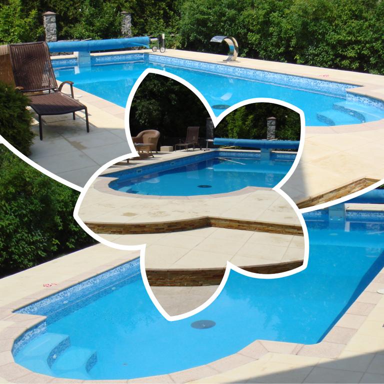Плавательный бетонный бассейн неправильной формы