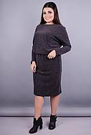Моника ангора. Красивое женское платье супер батал. Серый.