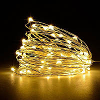 Светодиодная нить на батарейках для декора, 100 мини-LED, цвет - тёплый белый, постоянное свечение 10 м