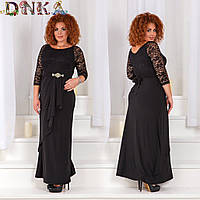 Вечернее платье длинное с гипюровым верхом украшение на поясе