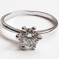 """Кольцо """"Принцесса"""" с цирконом (10 мм). Размеры 16, 17, 18, 19. Ювелирный сплав, родиевое покрытие."""