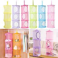 ТОП ВЫБОР! Органайзер подвесной для детских игрушек - сетка трёхуровневая 6001524 подвесной органайзер для вещей, органайзер подвесной