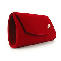 Красный велюровый вечерний клатч