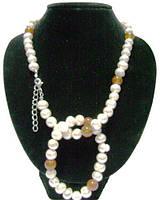 Жемчужное ожерелье с браслетом,вставка агат