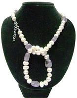 Жемчужное ожерелье с браслетом, вставка аметист