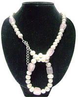 Жемчужное ожерелье с браслетом, вставка розовый кварц