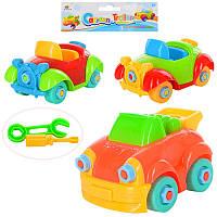 Детский конструкторна шурупах 8637-1, машинка 10см, инструменты, 3 вида, в кульке,15-15-6см