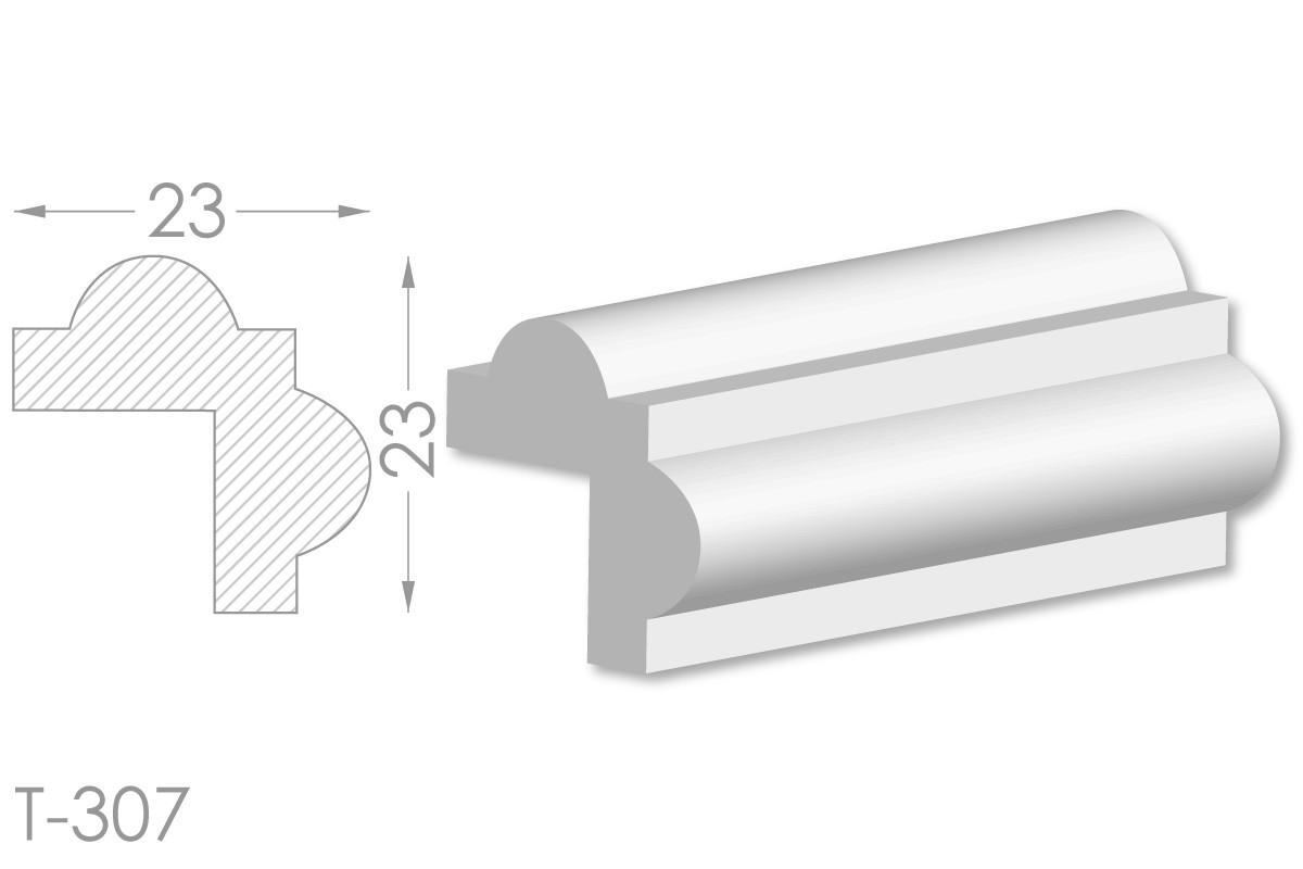 Декоративный угловой молдинг, плинтус, фриз, угловая тяга с гладким профилем из гипса т-307