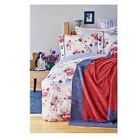 Набор постельное белье с пледом Karaca Home - Calvia 2018-1 синий евро