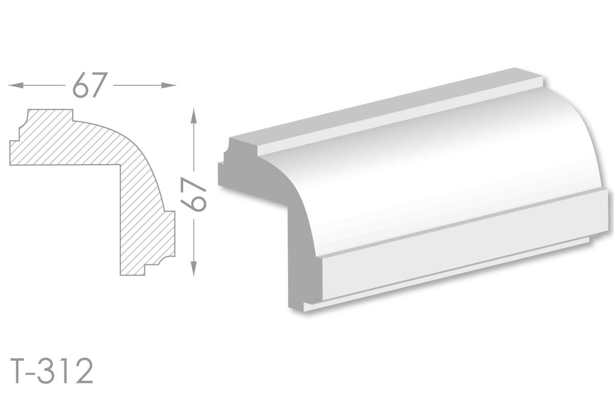Декоративный угловой молдинг, плинтус, фриз, угловая тяга с гладким профилем из гипса т-312