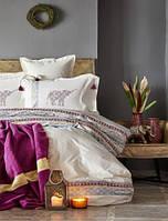 Набор постельное белье с пледом Karaca Home - Espilo 2018-1 бордо евро