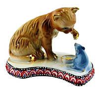 Статуэтка кошка и мышка из фарфора, 120х80х80