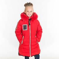 """Зимняя куртка для девочки """"Сабрина"""", 34-44 размеры, цвет красный"""