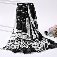 Стильный легкий женский шарф в полоску черного цвета