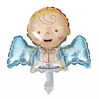 """Фольгированный фигурный воздушный шарик """"Ангел"""" мальчик 45см."""