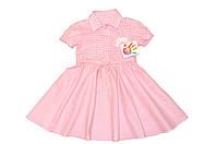 Платье детское «Клетка » мелкая , розовая