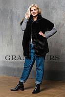 Женский жакет из эко меха Tissavel (Франция) 024 черный 42-54рр
