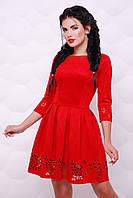 Червоне замшеве плаття декороване вирізами Viola