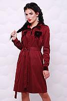 Бордове плаття-сорочка декороване велюровими кишенями від KIVI