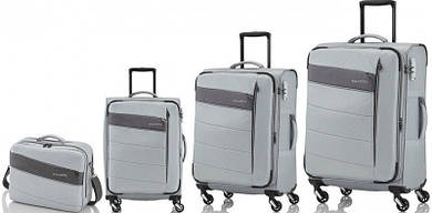 Набор тканевых чемоданов расширением размеров L/M/S и сумка, на 4-х колесах Travelite Kite TL089940-56, серый