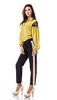 Женские брюки из крепа с кантами оптом. Модель БР26_черный с бежевым., фото 1