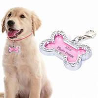 Подвеска для ошейника Косточка для собак и кошек, 1001858, подвеска на ошейник для собак, адресник собака, адресник, кулоны для собак на ошейник,