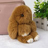 Пушистый кролик-брелок 14 см. из натурального меха, 1001883, брелок кролик из меха, брелок кролик из натурального меха, меховой кролик брелок, кролики