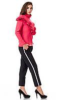 Женские брюки из крепа с кантами оптом. Модель БР26_черный с красно-бело-черным., фото 1