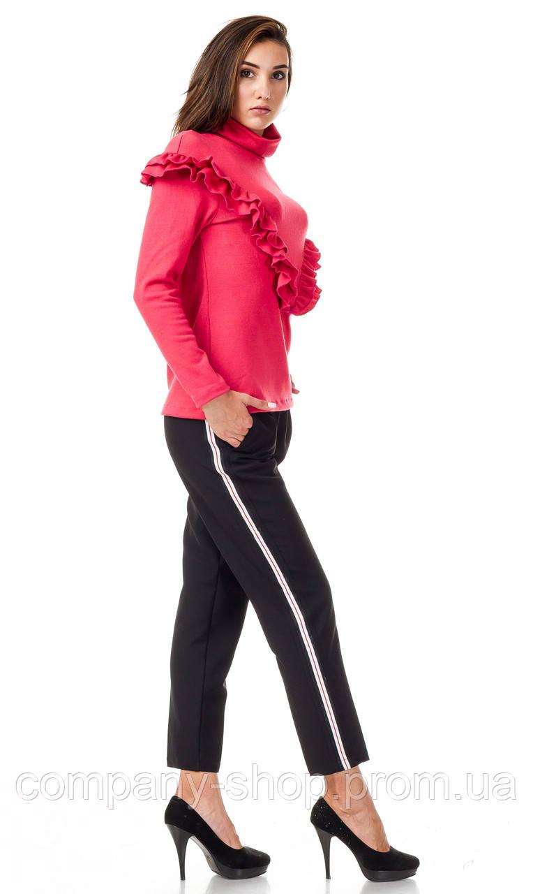 Женские брюки из крепа с кантами оптом. Модель БР26_черный с красно-бело-черным.