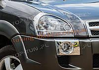 Накладки-рамки на передние противотуманки на Hyundai Tucson 2004-2010