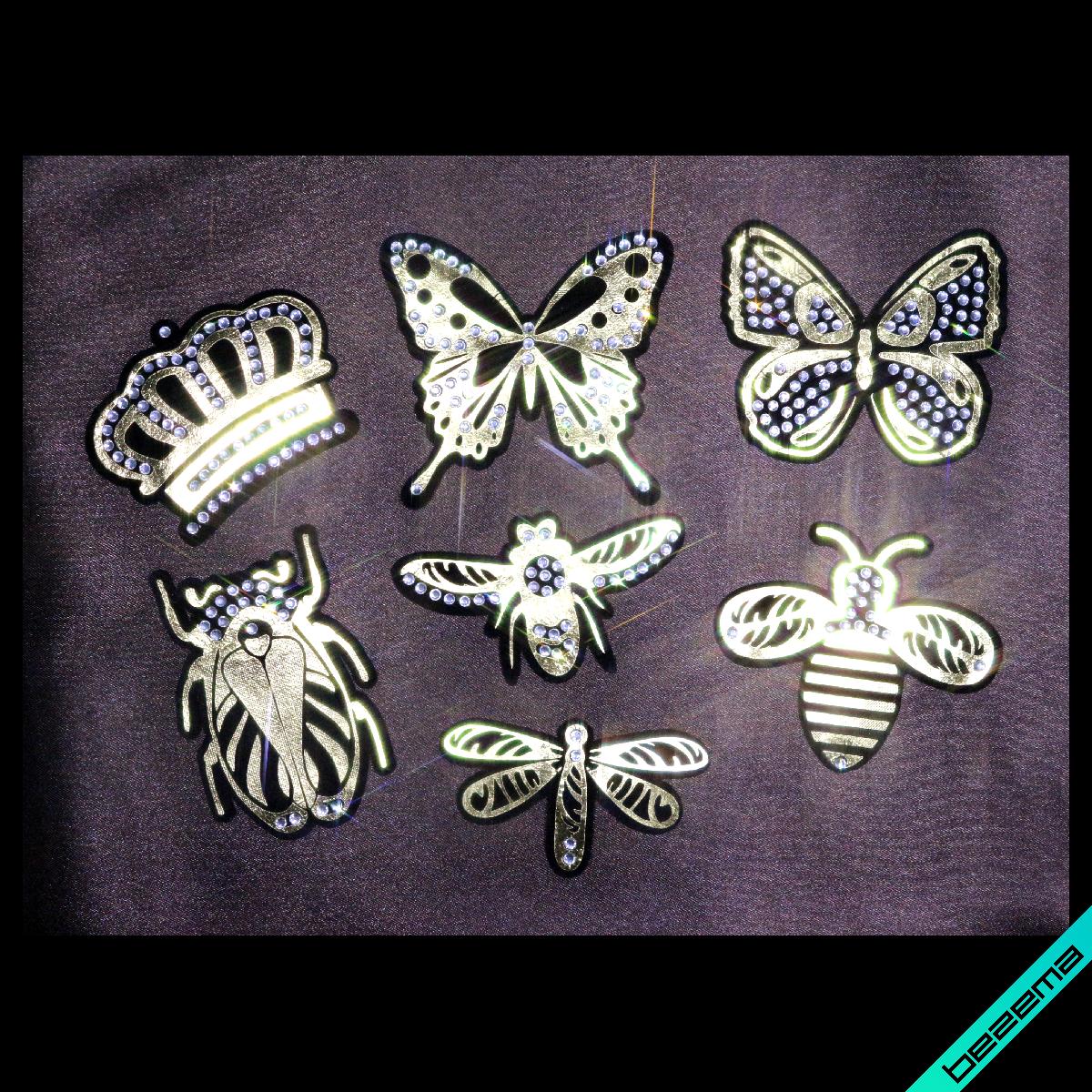 Нашивки для бизнеса на туфли термо Набор модные насекомые [Свой размер и материалы в ассортименте]