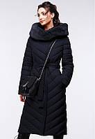 Длинное стеганное пальто женское зимнее.