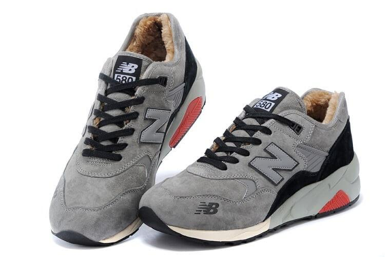 Кроссовки с мехом New Balance 580 Grey Black Red Winter