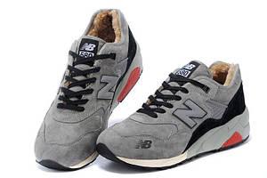 Кроссовки с мехом New Balance 580 Grey Black Red Winter
