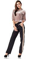 Женские брюки с разрезами оптом. Модель БР27_черный с бежевым., фото 1