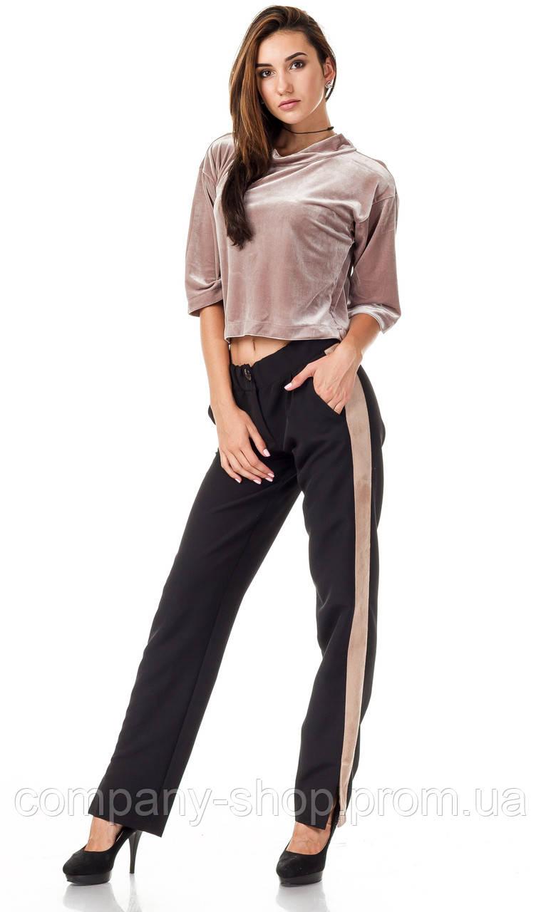 Женские брюки с разрезами оптом. Модель БР27_черный с бежевым.