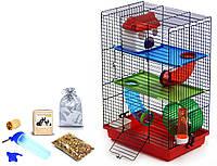 Клетка для хомяка, мыши, грызунов + опилки + корм 16 Красный